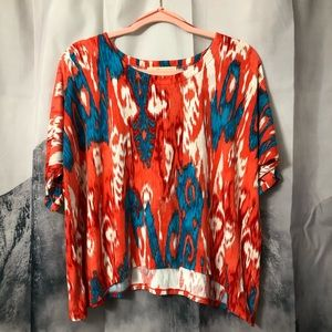 Michael Kors Ikat Batwing Cropped Blouse